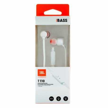 Écouteurs JBL T110 filaires intra-auriculaires avec micro - Blanc