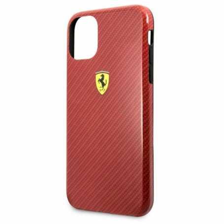 Coque Ferrari pour Iphone 11 Pro Max effet Carbon -Rouge