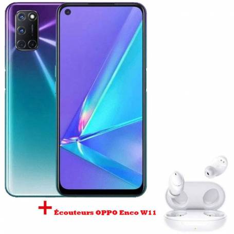 Pack Smartphone OPPO A92 Violet+ Écouteurs OPPO Enco W11