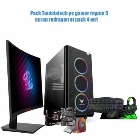 Pack Tunisiatech pc gamer rayzen 5 ecran redragon et pack 4 en1